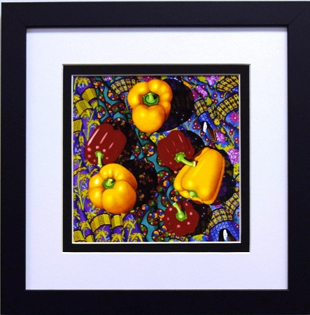 home framed wall home decor flower and vegetable prints red yellow peppers vegetable collage art food kitchen wall decor print 12x12 black frame