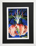Botanical Floral Art Print Red Lilly Wall Decor Print 11.25x14 White Frame