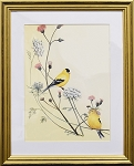 Audubon Finch Bird Nature Print Matted 11x14 Wall Decor Wildlife- Gold Frame