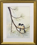 Audubon  Chickadee Bird Nature Print Matted 11x14 Wall Decor Wildlife- Gold Frame