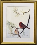 Audubon Cardinal Bird Nature Print Matted 11x14 Wall Decor Wildlife- Gold Frame