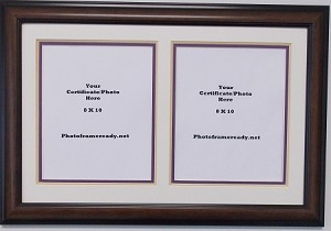 Graduation University Double 8x10 certificates, documents or photo openings collage frame creme gold and purple mats