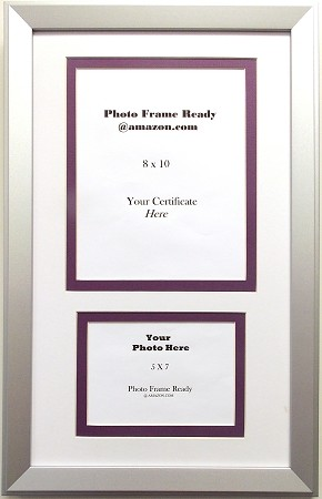 Graduation Diploma Purple & White Certificate 8X10 Photo 5x7 Silver ...