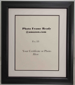wall mount black wood photo frame with 8x10 opening for certificate or photo double matted black frame - Double 8x10 Frame