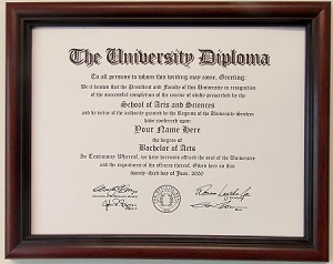 Graduation Diploma College or University 8-1/2 X11 Certificate Document Cherry frame