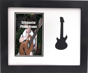 Wall Mount Music Photo Frame Black Guitar 8x10 Holds 4x6