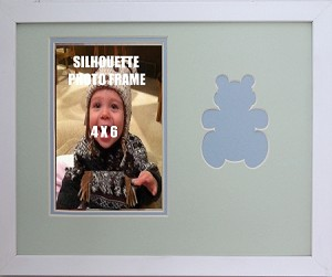 Wall Mount Childrens Infant Boy Blue and Green Teddy Bear Infant Photo Frame 8x10 Hold 4x6 Photo