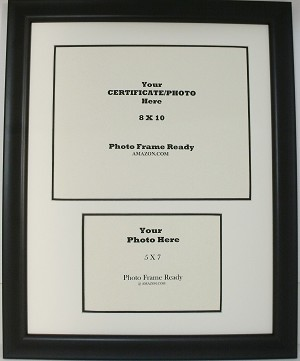 university diploma certificate 8x10 with 5x7 landscape photo opening black frame