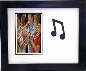 Wall Mount Music Photo Frame Eigth Note 9.5 X 11.5 Holds 4x6 Photo White and Black Mats
