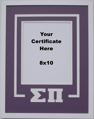 SigmaPi Fraternity Delux Wall Mount Frame for 8x10 Certificate or Document purple and white