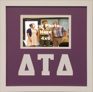 Delta Tau Delta  Friendship Frame holds 4x6 photo wall mount purple and white frame