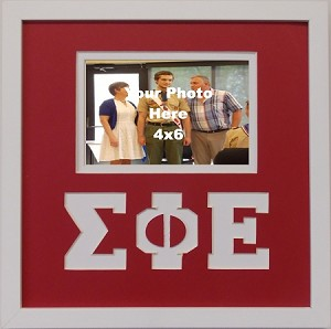 Sigma Phi Epsilon Friendship Frame holds 4x6 photo wall mount red and white frame