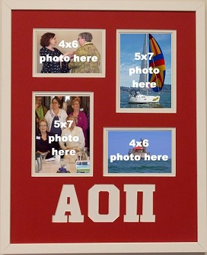 Alpha Omicron Pi Sorority 16x20 collage photo mat and wall mount frame for 5x7 and 4x6 photos