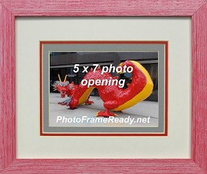 Picture Frame Wall Mount 5x7 Triple Mat Red Wood Photo Frame