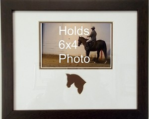 Brown Horse Equestrian Photo Frame Holds 4X6 Photo Brown Frame