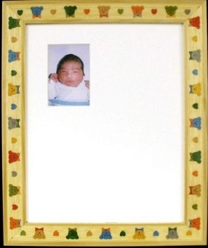 Newborn nursery Childrens Teddy Bear Infant Signature Greeting Baby Photo Mat Frame 8x10 Hold 2x3 Hospital Photo