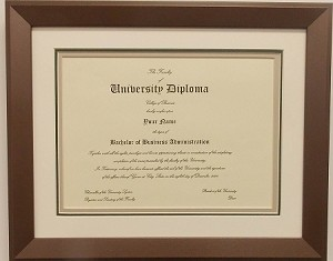 Graduation Diploma 8 12 X11 Certificate Triple Matted Bronze Frame