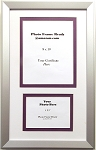 Graduation Diploma Purple & White Certificate 8X10 Photo 5x7 Silver Frame Matted