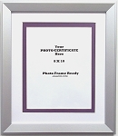 Wall Mount Photo Frame with Etched Silver Wood Moulding Holds 8x10 Photo Certificate or Document