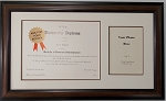 Graduation Diploma University Certificate 8.5x11 with 5x7 Photo Brown Frame Matted Frame
