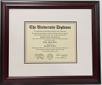 Graduation Diploma College or University 8-1/2 X11 Certificate Document Triple Matted Mahogany Frame