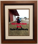 Traditional Wood Wall Mount Photo Frame Country Style Rope Frame 8x10 Photo or documnet with Double Mats Brown & Creme