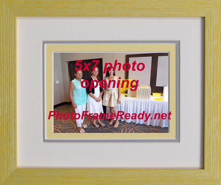 Home Tabletop Wall Mount Frames Photo 5x7 Openings Picture Frame Triple Mat Yellow Wood