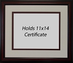 Graduation Diploma College or University 11x14 Oversize Certificate Document Double Mat Brown Frame