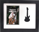 Wall Mount Music Photo Frame Black Guitar 8x10 Holds 4x6 Photo White and Black Mats