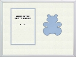 Tabletop Childrens Teddy Bear Infant Photo Frame 8x10 Hold 4x6 Photo Blue with white metal frame