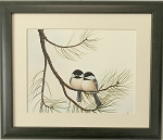 Audubon Chickadee Wildlife Bird Print 10x12 Wall Decor artwork Framed Print