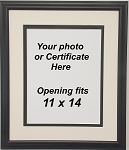 Custom Picture Frame Black Double Matted  Black and White with 11x14 Opening