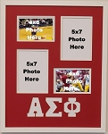Alpha Sigma Phi Fraternity 16x20 memory collage frame holds two(2) 4x6 and two(2)5x7