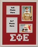 Sigma Phi Epsilon Fraternity 16x20 memory collage frame holds two(2) 5x7 and two(2) 4x6 photos