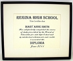 Graduation Diploma 6x8 Certificate Matted and Frame 9X11