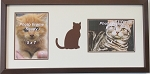 Wall Hanging Brown Cat Double Photo Frame Holds Two 5x7 Photos Brown Frame