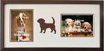 Wall Hanging Brown Dog Double Photo Frame Holds Two 5x7 Photos Brown Frame
