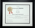 Graduation Diploma University 8.5 x 11 Certificate Matted Black Frame