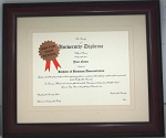 Graduation Diploma University Certificate  8-1/2x11 Matted Frame-Mahogony Frame