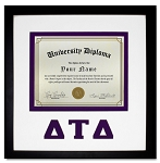 Delta Tau Delta Diploma document certificate frame purple and black