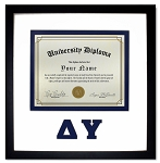 Delta Upsilon Diploma document certificate frame blue and black