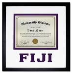 Phi Gamma Delta (FIJI) Diploma document certificate frame purple and black