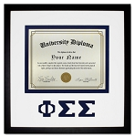 Phi Sigma Sigma Diploma document certificate frame blue and black