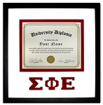 Sigma Phi Epsilon Diploma document certificate frame red and black