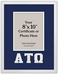 Alpha Tau Omega Fraternity certificate document photo frame 8x10 opening wall mount blue and white