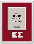 Kappa Sigma Fraternity certificate photo frame 8x10 opening wall mount red and white