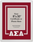 Alpha Sigma Alpha Sorority Deluxe Wall Mount Frame for 8x10 certificate or photo red and white