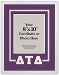 Delta Tau Delta Fraternity Deluxe Certificate Wall Mount Frame for 8x10 Document or Photo Purple and White