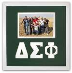 Delta Sigma Phi Fraternity 10x10 Friendship Frame holds 4x6 photo wall mount green and white frame