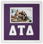 Delta Tau Delta Fraternity 10x10 Friendship Frame holds 4x6 photo wall mount purple and white frame